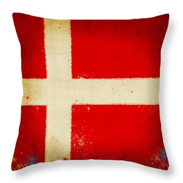 Denmark Flag Throw Pillow by Setsiri Silapasuwanchai