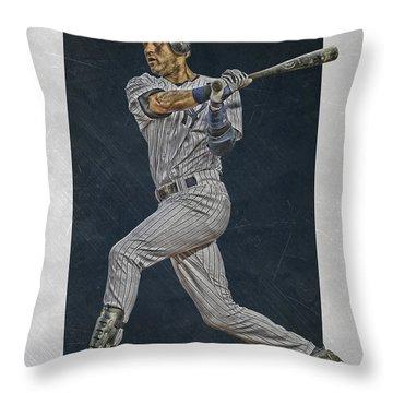 Derek Jeter New York Yankees Art 2 Throw Pillow by Joe Hamilton