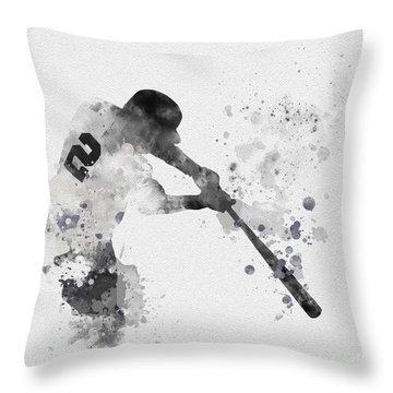 Derek Jeter Throw Pillow by Rebecca Jenkins