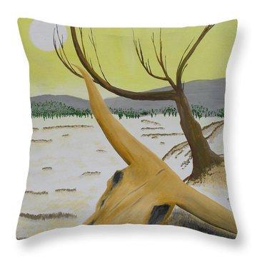 Desert Skull Throw Pillow by M Valeriano