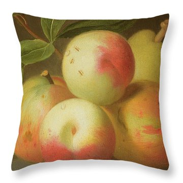 Detail Of Apples On A Shelf Throw Pillow by Jakob Bogdany