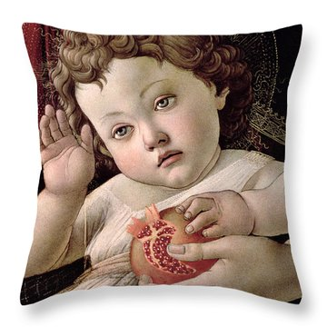 Detail Of The Christ Child From The Madonna Of The Pomegranate  Throw Pillow by Sandro Botticelli