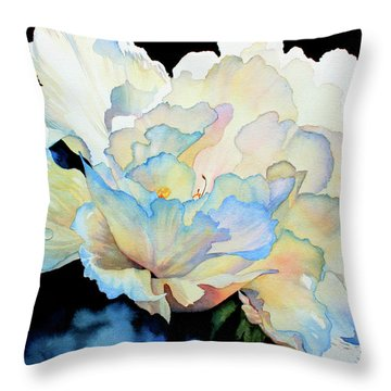 Dew Drops On Peony Throw Pillow by Hanne Lore Koehler