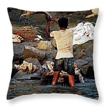 Dhobi Wallah Throw Pillow by Steve Harrington