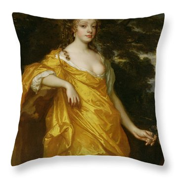 Diana Kirke-later Countess Of Oxford Throw Pillow by Sir Peter Lely