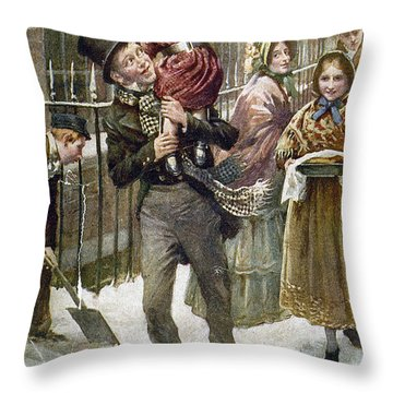 Dickens: A Christmas Carol Throw Pillow by Granger