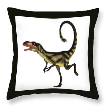 Dilong Dinosaur Profile Throw Pillow by Corey Ford