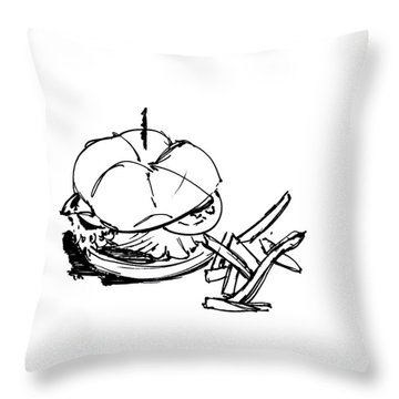 Diner Drawing Charbroiled Chicken 1 Throw Pillow by Chad Glass