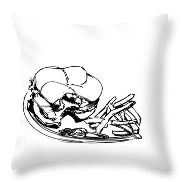 Diner Drawing Charbroiled Chicken 2 Throw Pillow by Chad Glass