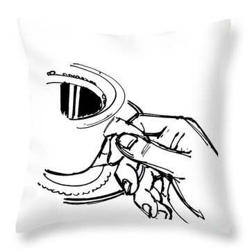 Diner Drawing Coffee In Hand Throw Pillow by Chad Glass