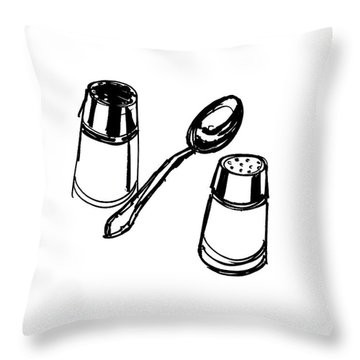 Diner Drawing Salt, Pepper, And Spoon Throw Pillow by Chad Glass