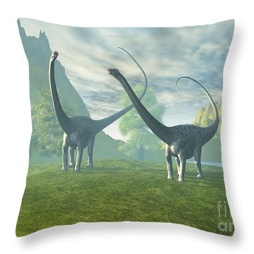 Dinosaur Land Throw Pillow by Corey Ford
