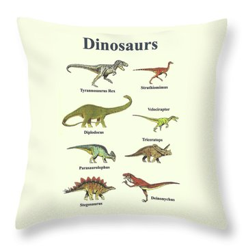 Dinosaurs Collage - Portrait Throw Pillow by Michael Vigliotti