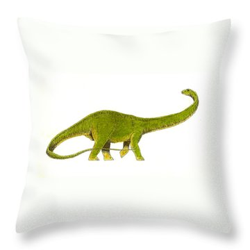 Diplodocus Throw Pillow by Michael Vigliotti