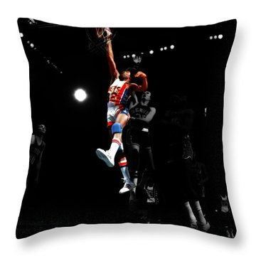 Doctor J Over The Top Throw Pillow by Brian Reaves