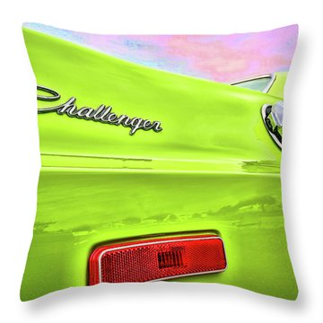 Dodge Challenger In Sublime Green Throw Pillow by Gordon Dean II