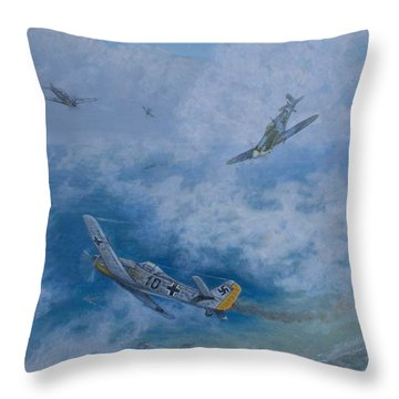 Dogfight Over Dieppe 19 August 1942 Throw Pillow by Elaine Jones