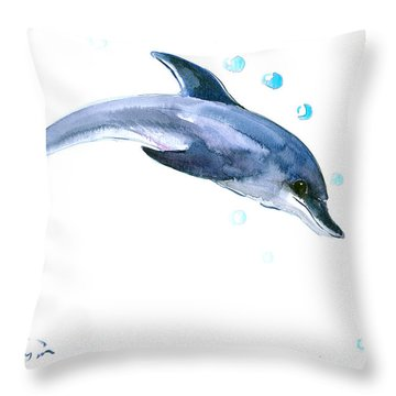 Dolphin Throw Pillow by Suren Nersisyan