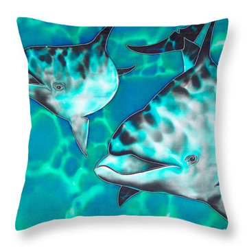 Dolphins Of Sanne Bay Throw Pillow by Daniel Jean-Baptiste