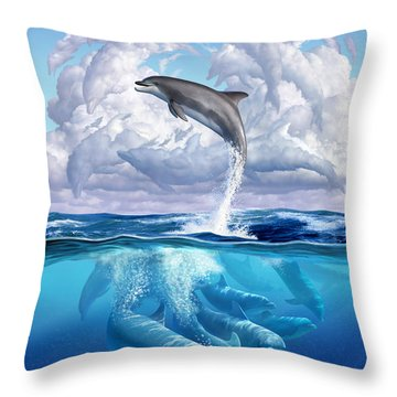 Dolphonic Symphony Throw Pillow by Jerry LoFaro