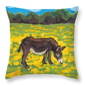 Donkey And Buttercup Field Throw Pillow by Sarah Gillard