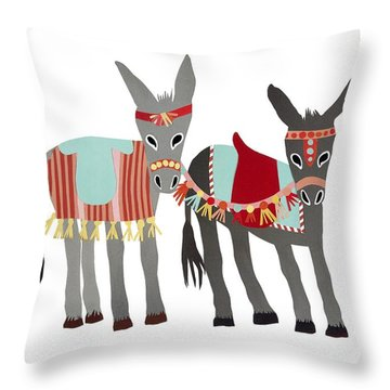 Donkeys Throw Pillow by Isoebl Barber