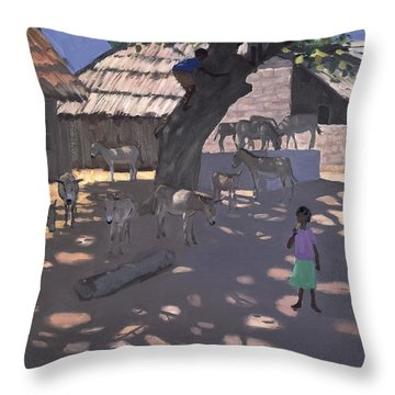 Donkeys Lamu Kenya Throw Pillow by Andrew Macara