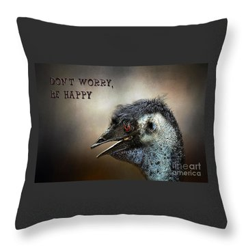 Don't Worry  Be Happy Throw Pillow by Kaye Menner