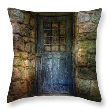Door - A Rather Old Door Leading To Somewhere Throw Pillow by Mike Savad