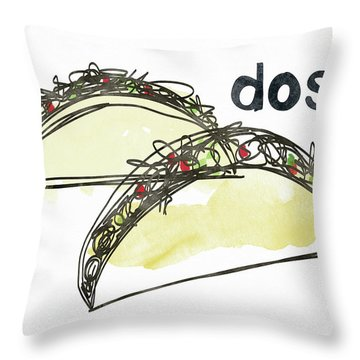 Dos Tacos- Art By Linda Woods Throw Pillow by Linda Woods