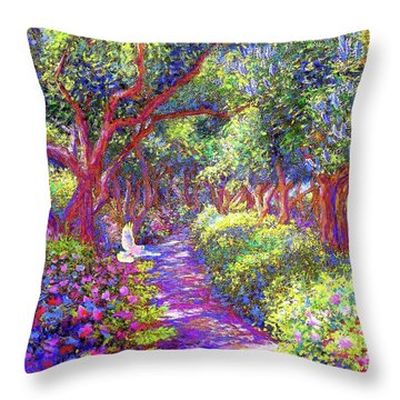Dove And Healing Garden Throw Pillow by Jane Small