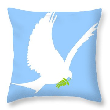 Dove And Olive Branch Throw Pillow by Colette Scharf