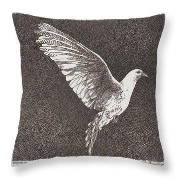 Dove Drawing Throw Pillow by William Beauchamp