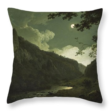 Dovedale By Moonlight Throw Pillow by Joseph Wright of Derby