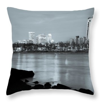 Downtown Tulsa Oklahoma - University Tower View - Black And White Throw Pillow by Gregory Ballos