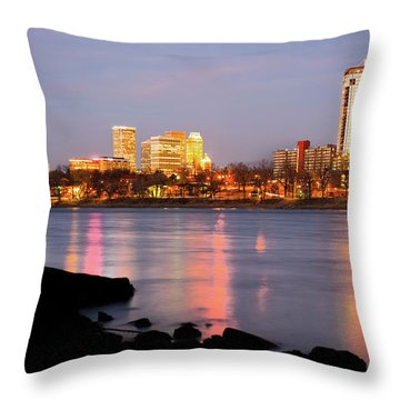Downtown Tulsa Oklahoma - University Tower View Throw Pillow by Gregory Ballos