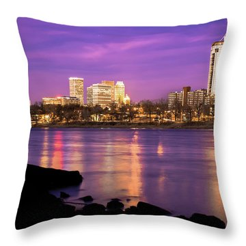 Downtown Tulsa Oklahoma - University Tower View - Purple Skies Throw Pillow by Gregory Ballos