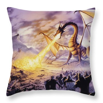 Dragon Battle Throw Pillow by The Dragon Chronicles - Steve Re