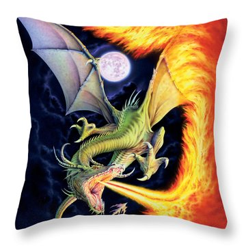 Dragon Fire Throw Pillow by The Dragon Chronicles