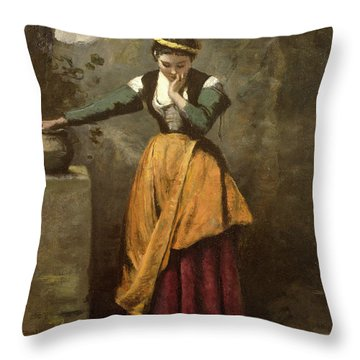 Dreamer At The Fountain Throw Pillow by Jean Baptiste Camille Corot
