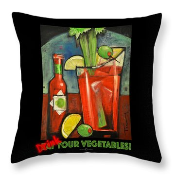 Drink Your Vegetables Poster Throw Pillow by Tim Nyberg