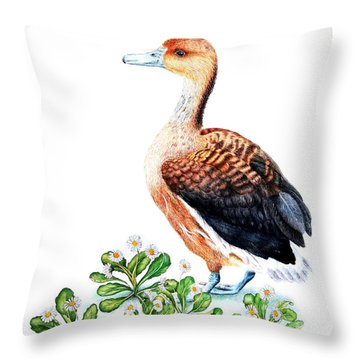 Duck And Daisies Throw Pillow by Sandra Moore