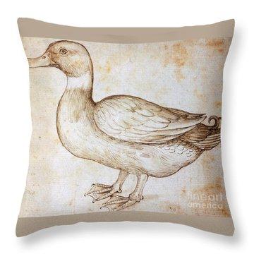 Duck Throw Pillow by Leonardo Da Vinci