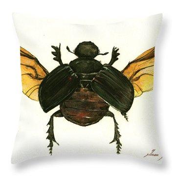 Dung Beetle Throw Pillow by Juan Bosco