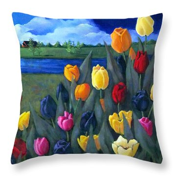 Dutch Tulips With Landscape Throw Pillow by Joyce Geleynse