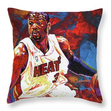 Dwyane Wade 2 Throw Pillow by Maria Arango