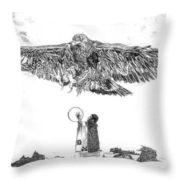 Eagle Visit Throw Pillow by John Keaton