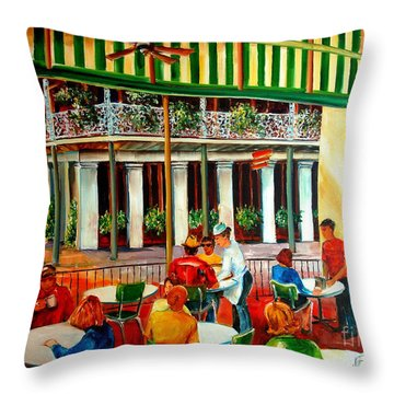 Early Morning At The Cafe Du Monde Throw Pillow by Diane Millsap