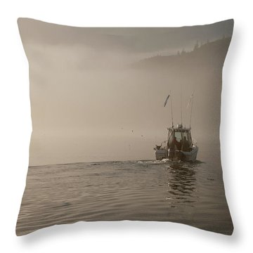Early Morning Fishing Boat Throw Pillow by Chad Davis