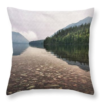 Early Morning On Lake Mcdonald II Throw Pillow by Sharon Foster